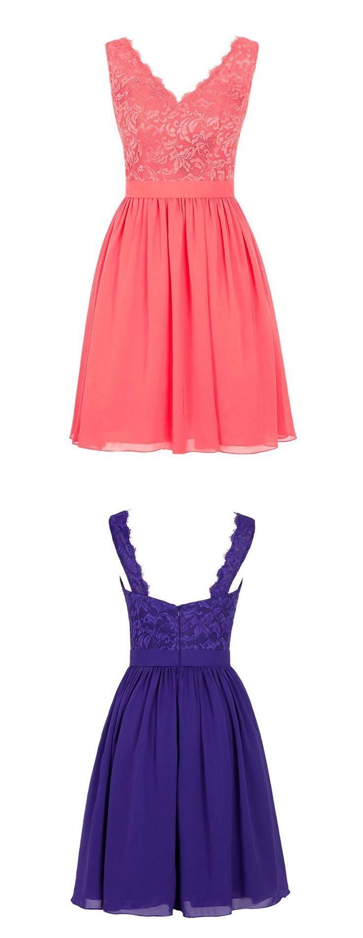 2016 v-neck short chiffon coral bridesmaid dress purple bridesmaid dress, wedding party dress
