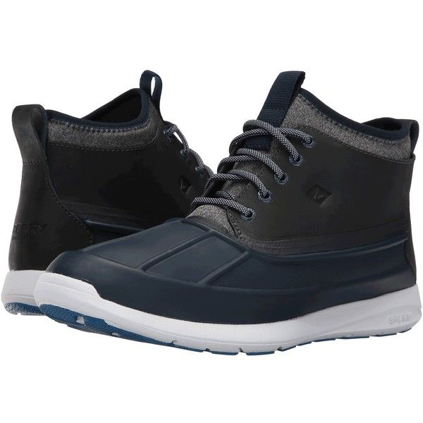 Sperry Top-Sider Sojourn Duck Chukka Boot (Navy) Men's Lace-up Boots ($110) ❤ liked on Polyvore featuring men's fashion, men's shoes, men's boots, sperry mens shoes, mens waterproof ankle boots, mens short boots, mens chukka boots and mens navy shoes