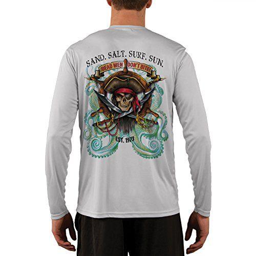 SAND.SALT.SURF.SUN. Men's Pirate Octopus UPF 50+ Performance T-shirt XXX-Large Pearl Grey