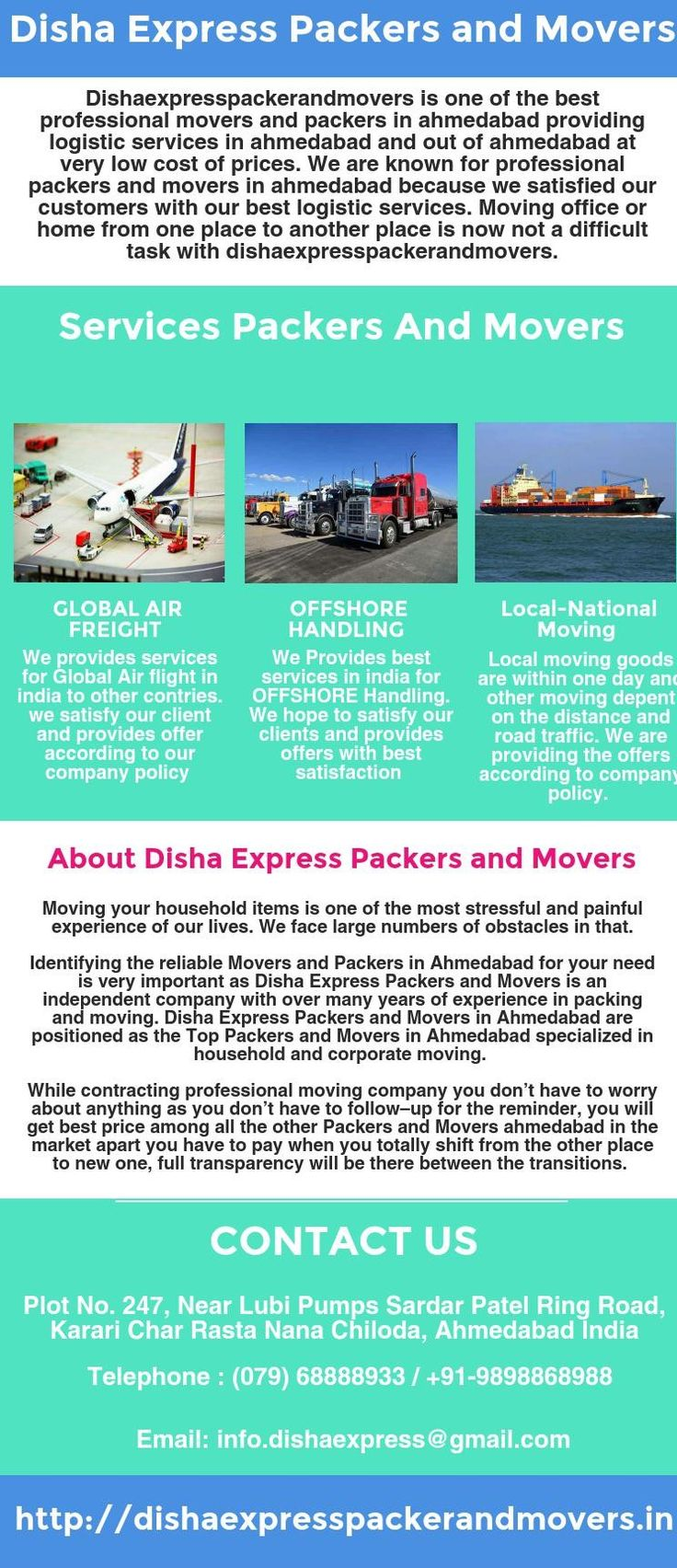 Dishaexpresspackerandmovers is one of the best professional packers and movers in Ahmedabad. If you are looking to move to or from ahmedabad then choose reliable local packers and movers. We provide quality of service including household shifting, office shifting, loading and unloading service at affordable cost of price. We also provide corporate moving service, moving and storage service in Ahmedabad.