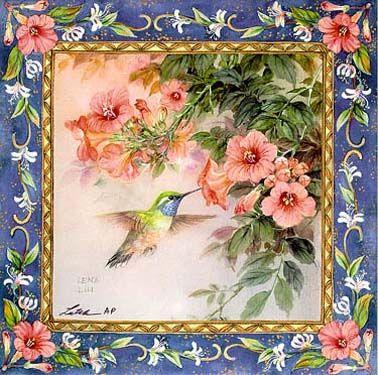 Hummingbird with Trumpet Vine Art Tile by Lena Liu