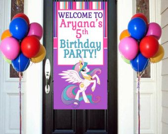 Princess Celestia Personalized Door Banner 2 feet by 4Feet, My Little Pony Welcome Banner for Party Customizable