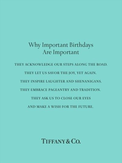 Birthdays the Tiffany way -- this is adorable! Would be cute for a card