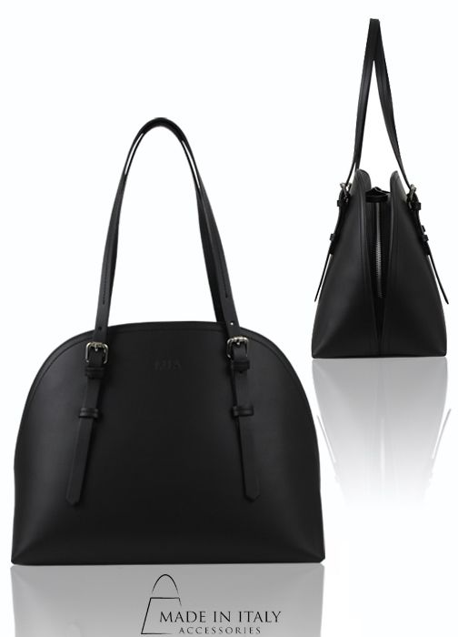 MIA | Ines Collection | Luxe Black Leather Handbags for Women | Made in Italy Accessories https://madeinitalyaccessories.com/ines-leather-tote-bag
