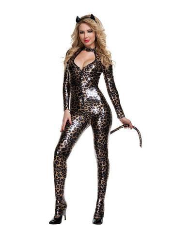 sexy leopard cat women pu halloween party costumes