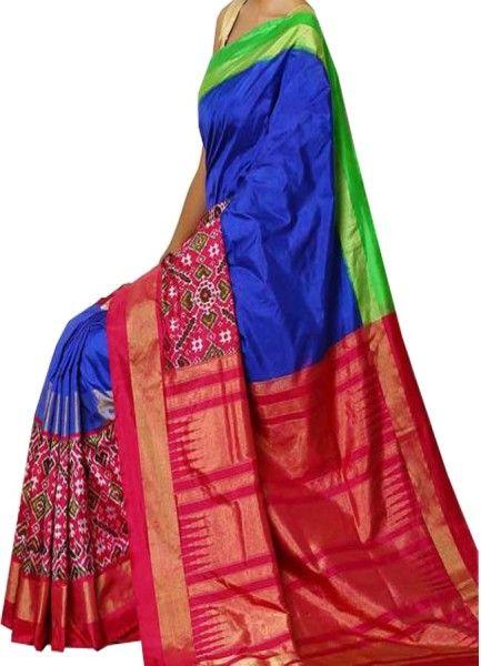 ikat royal blue color saree