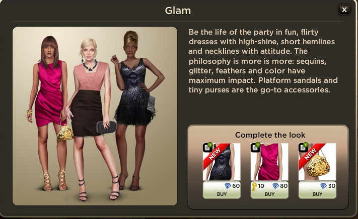 Glam Look:  Be the life of the party in fun, flirty dresses with high-shine, short hemlines and necklines with attitude. The philosophy is more is more: sequins, glitter, feathers and colour have maximum impact. Platform sandals and tiny purses are the go-to accessories.