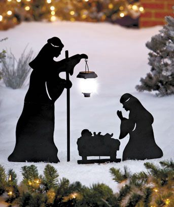 Give your outdoor holiday display a spiritual touch with a 3-Pc. Solar Nativity Silhouette Stake Set. It features Mary and Joseph celebrating the birth of baby Jesus. One of the figures is praying, while the other is holding a solar-