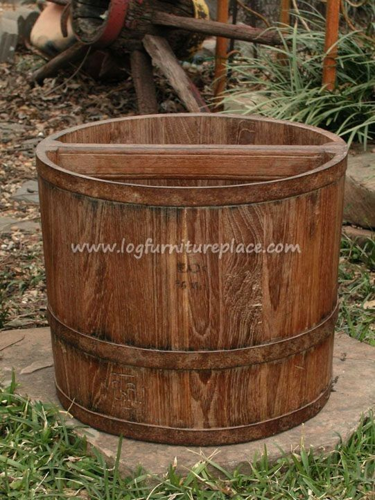 Teak Wood Farmers Bucket Planter   Outdoor U0026 Patio Log Furniture