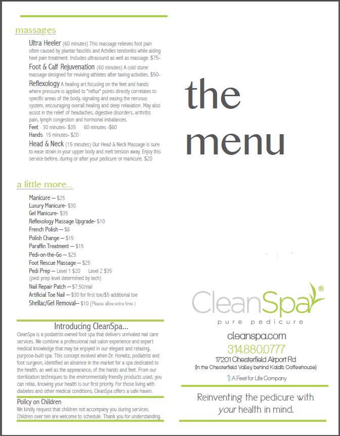 Our Menu - Cleanspa