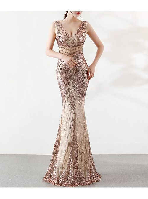 cfd23042660 Mermaid   Trumpet Plunging Neck Floor Length Tulle   Sequined Beautiful  Back Formal Evening Dress with