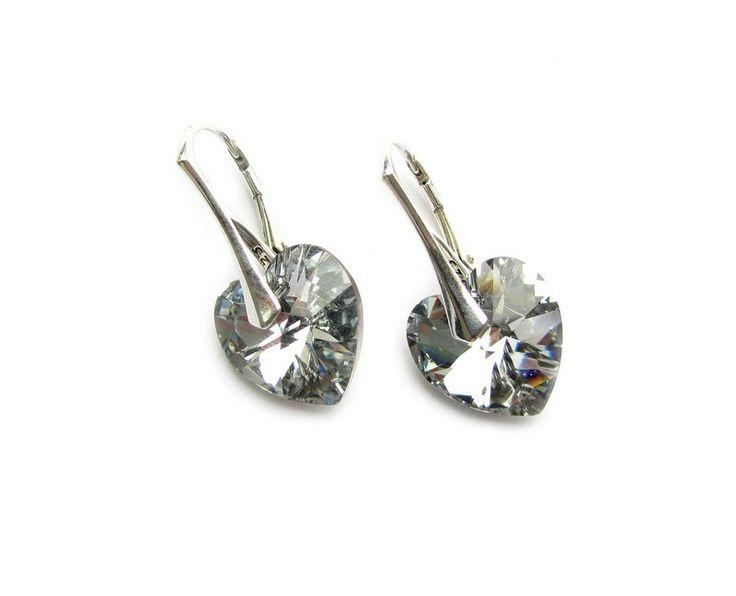 Sterling zilveren leverback oorbellen met swarovski comet argent light hartjes
