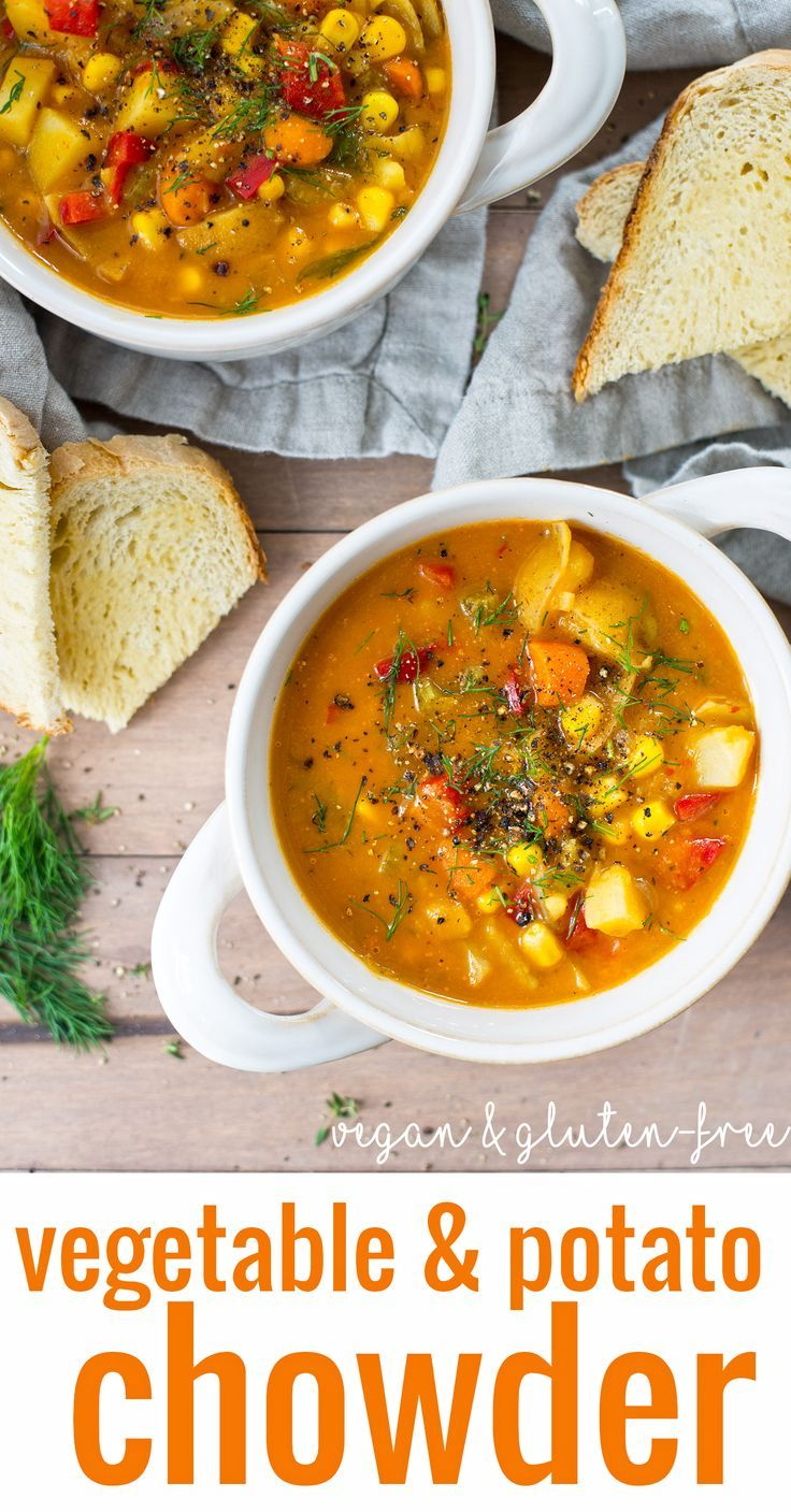 Vegan Vegetable and Potato Chowder! You are going to love this healthy and hearty chowder. Packed with vegetables, Vegan and Gluten-Free | http://www.delishknowledge.com