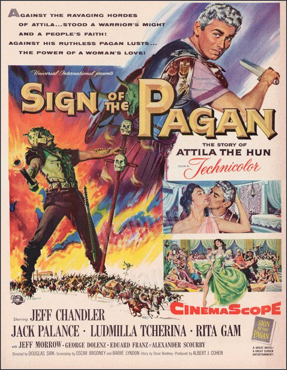 Sign of the Pagan Movie Vintage Print Ad from 1954 // Old Movie Posters // Jeff Chandler Movies