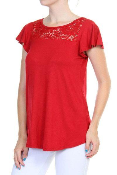 Cranberry Lace Top – URBAN MAX LLC
