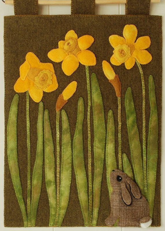 """Wool applique PATTERN """"Wide-Eyed Curiosity"""" wall hanging table runner bunny daffodils hand dyed rug hooking felted wool folk art quilt block"""