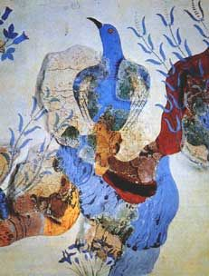 """The Famous """"Blue Birds"""" of Crete, Fresco Art at Knossos, Greece - you may find them somewhat down on this beautiful page"""
