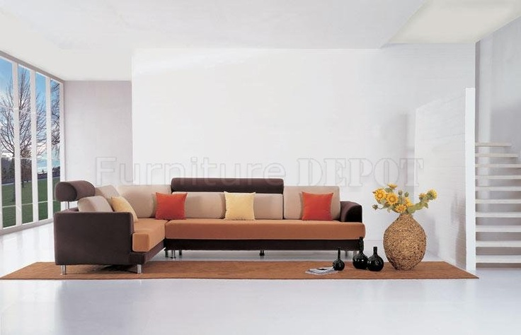 Multi-Tone Fabric Modern Sectional Sofa w/Melal Legs