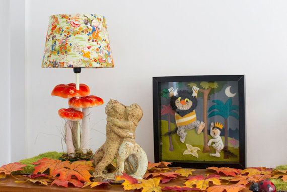 Woodland nursery lamp with orange mushroom and animal musicians lampshade form Babes in the Woods. Available to buy on etsy.com