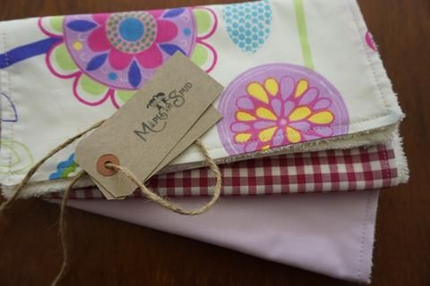 Organic burp cloth pink and lilac