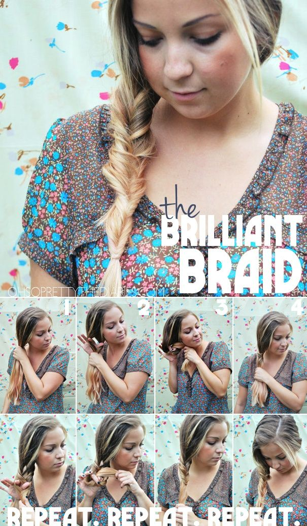 The brilliant braid – looks like a fishtail, but it's really just a knot. I did this immediately after pinning and idk what I'm going wrong... but this is shit.