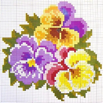 pansy cross stitch chart