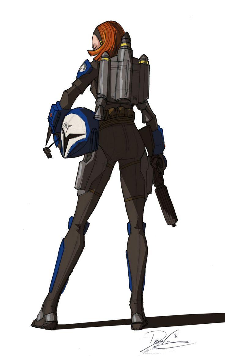 Dave Filoni's concepts for The Clone Wars' Death Watch warrior, Bo Katan.