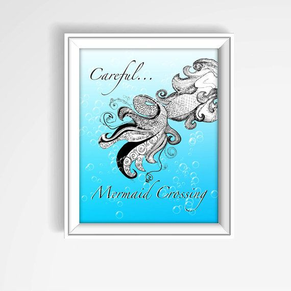 Mermaid Print Mermaid Crossing Mermaid Nursery by KateKreatesArt