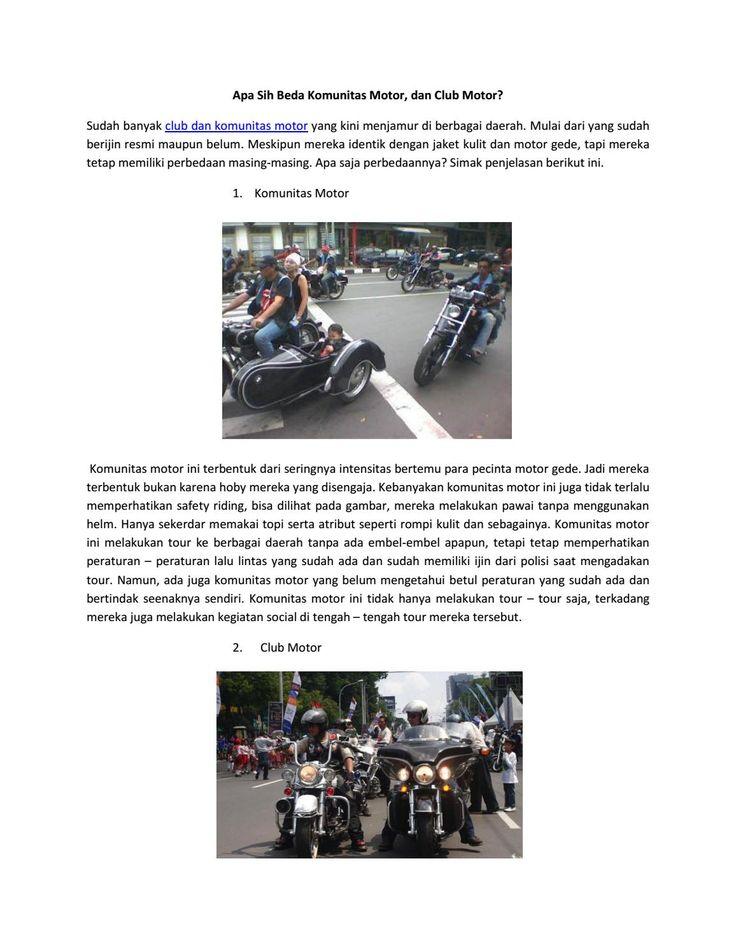 Perbedaan komunitas dan club motor