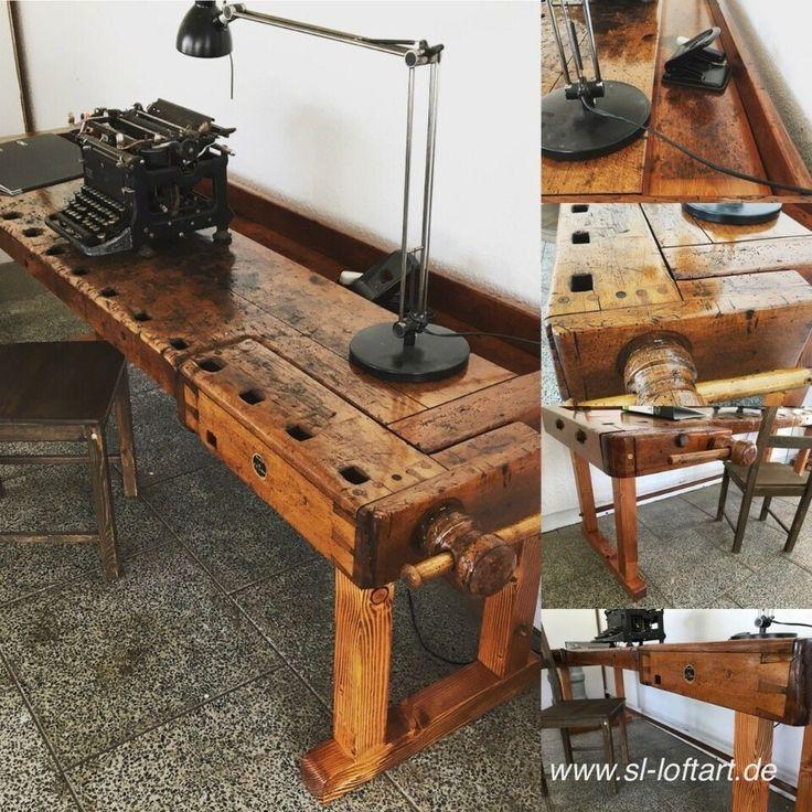 Schreibtisch 'Office' aus alter Hobelbank / Werkbank in ...