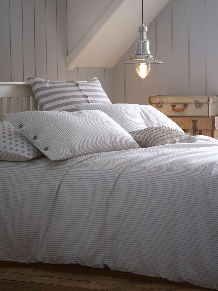 gray duvet cover   Ticking Stripe grey double duvet cover Jigsaw Ticking Stripe bed linen ...