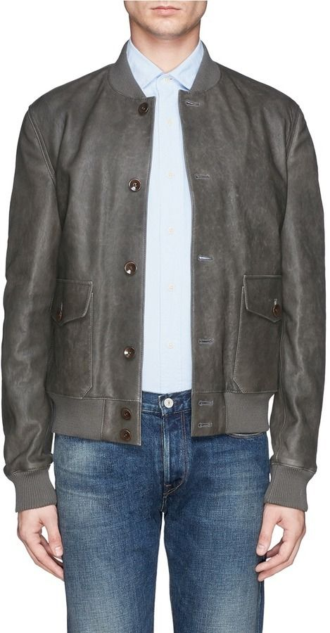 $2,340, Boglioli Washed Leather Bomber Jacket. Sold by Lane Crawford. Click for more info: https://lookastic.com/men/shop_items/349906/redirect