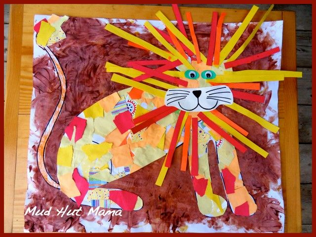 Collage Lion from Scrap paper