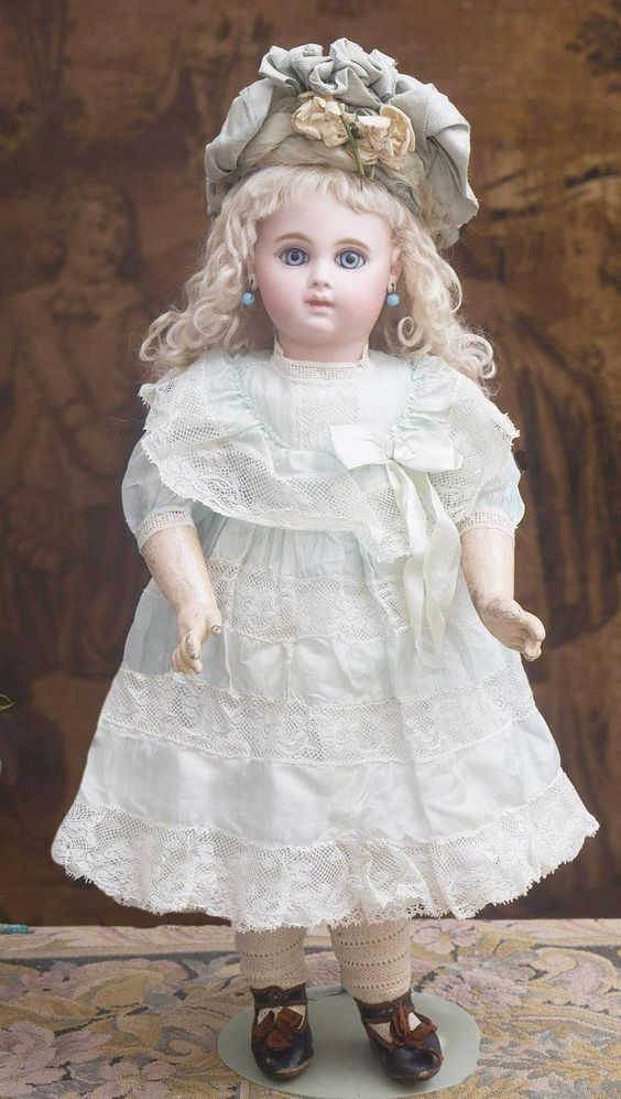 "18 1/2"" (47cm) Antique French Gorgeous Bisque Bebe Doll Earliest Period EJ, by Emile Jumeau, Blue Paperweights 8 ball joint body, Size 8, 1881"