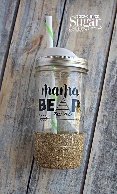 Mama Bear, Large Mason Jar, Mason Jar With Lid, Glitter Dipped Cup, Glass Jar, Cup With Straw, Made To Order, Cup With Saying, Wide Mouth by TheSugarCreekShoppe on Etsy