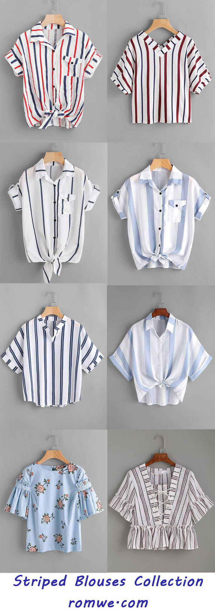 Striped Blouses Collection - romwe.com