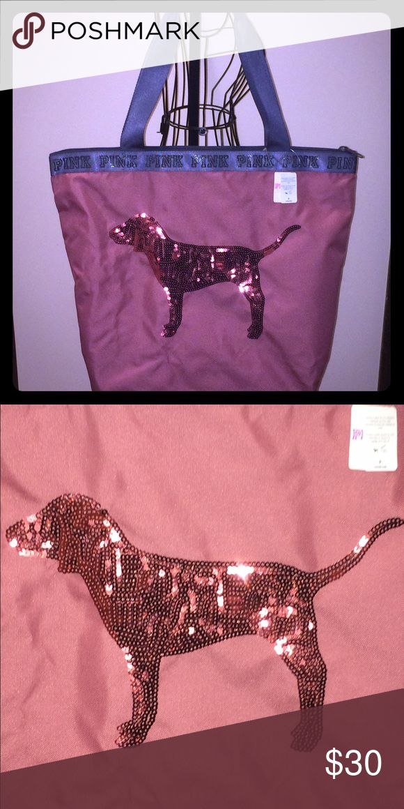 Victoria's Secret Pink Black Friday Dog Tote NWT Brand new with tags Tote! Very cute sequin dog with zipper closure. PINK Victoria's Secret Bags Totes