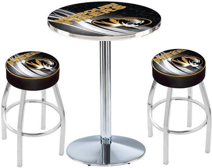 Missouri Tigers D2 Chrome Pub Table Set. Available in two table widths.  Visit SportsFansPlus.com for Details.