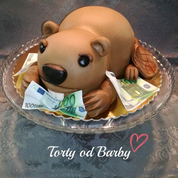 Cake beaver wiirh money, bobor s peniazmi, eura