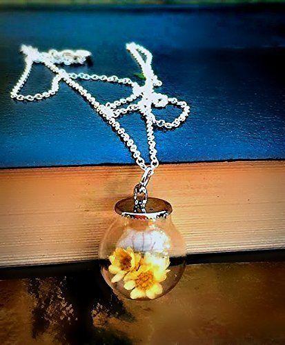Collier de fleurs blanches en argent sterling - Marguerite chaîne Personnalisé Pendentif fleur bouteille en verre Cadeau pour la mariée, la demoiselle d'honneur