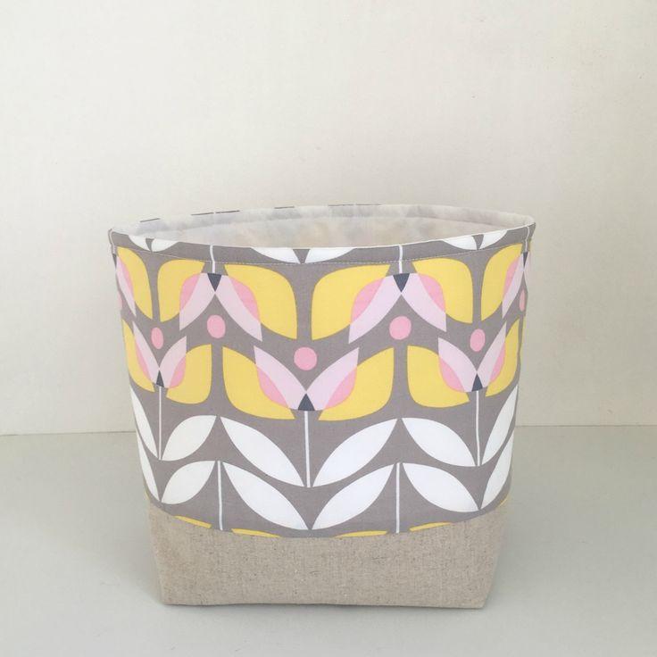 Fabric Storage Basket - New Wider Size - Modern Scandinavian Basket - Storage Basket - Flower by acraftyhen on Etsy