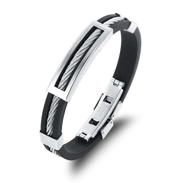 HOUSWEETY Bracelet Chaine Acier Inoxydable Silicone Reglable Anti-allergies Pour Homme Tresse Torsion: Amazon.fr: Bijoux