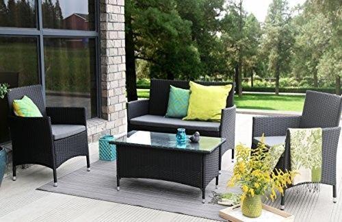 4-Pieces-Outdoor-Furniture-Complete-Patio-Wicker-Rattan-Garden-Set-Full-Black