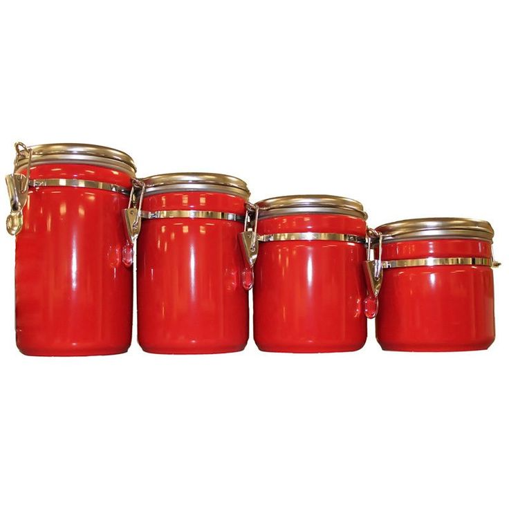 Add a bold accent to your kitchen with these fiery red canisters. Perfect for keeping dried goods, candy, flour, sugar or other items, these ceramic canisters feature stainless-steel clamp-top lids for secure storage.
