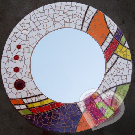 147 best images about mosaic mirrors on pinterest mosaic for Espejo redondo