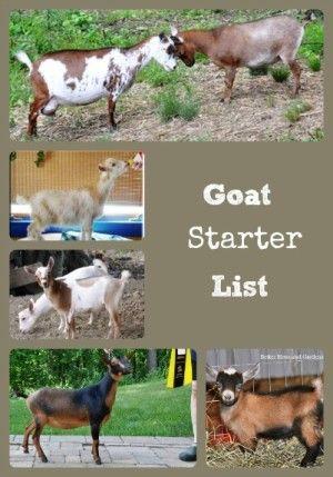 Goat Starter List via Better Hens and Gardens