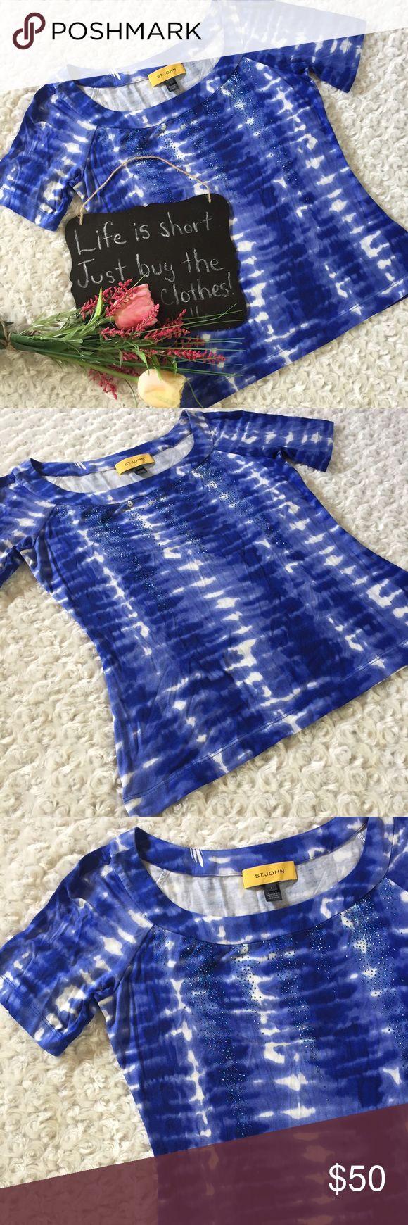 "St John blue tie dyed short sleeve top St John blue and white tie dyed top. Short Sleeve and very soft. Size S. 17"" arm pit to arm pit. 22.5"" length. St. John Tops"