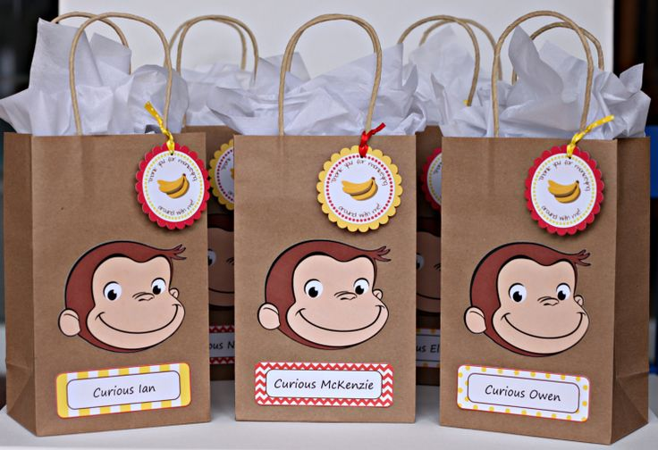Curious George birthday party goody bags / by ILoveYouBunches, $18.00
