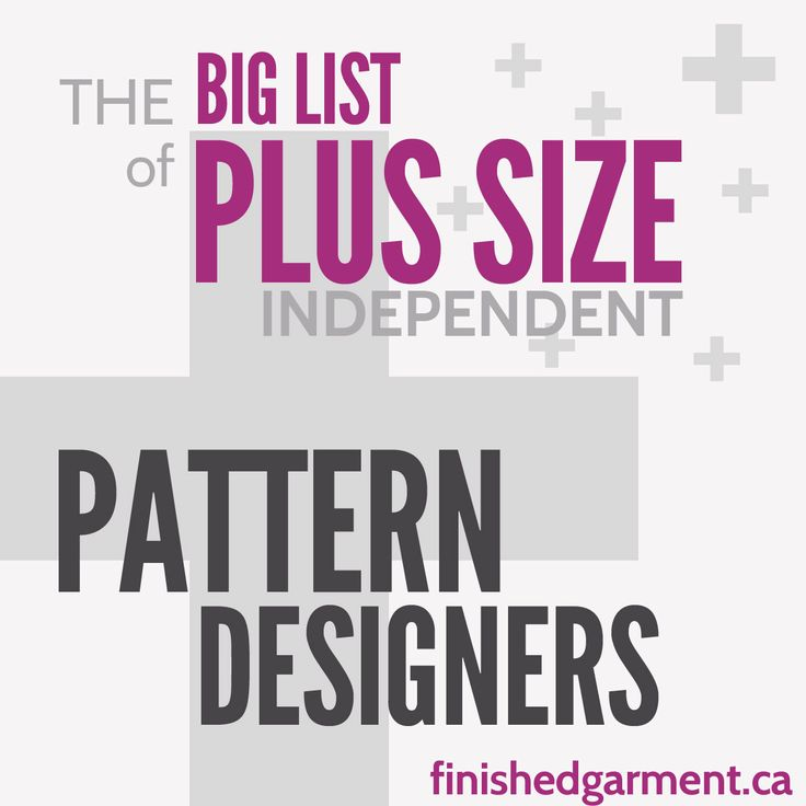 """Companies that make plus size, curvy, or full-figured sewing patterns for women and men, ordered by largest size available. Includes 41-62"""" bust, EUR 46-56+"""