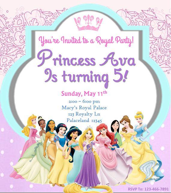 97 best slg invitations images on pinterest invitations disney princess birthday invitation by sginvitations on etsy stopboris Images